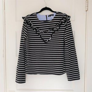 English Factory Striped Top with Ruffles